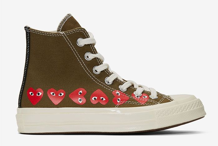 Comme Des Garcons Play Converse Chuck 70 Khaki Side Shot 2