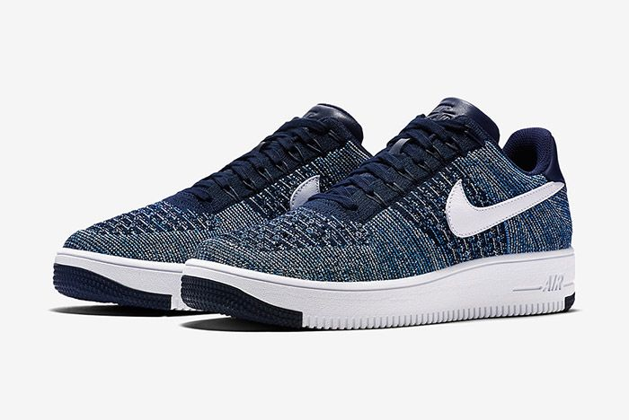 Nike Air Force 1 Flyknit Navy White 2