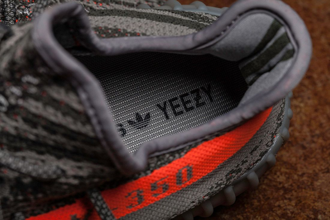 Adidas Yeezy 350 V2 Beluga Grey Orange Close Up 7