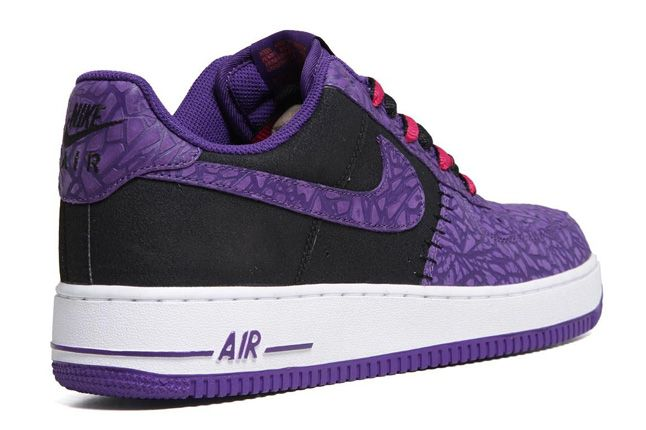 Nike Air Force 1 Le Godzilla Pack Black Purple Heel 1