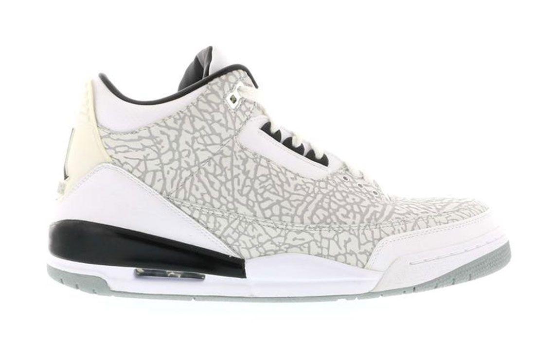 Air Jordan 3 White Flip White Cement Lateral Side Shot