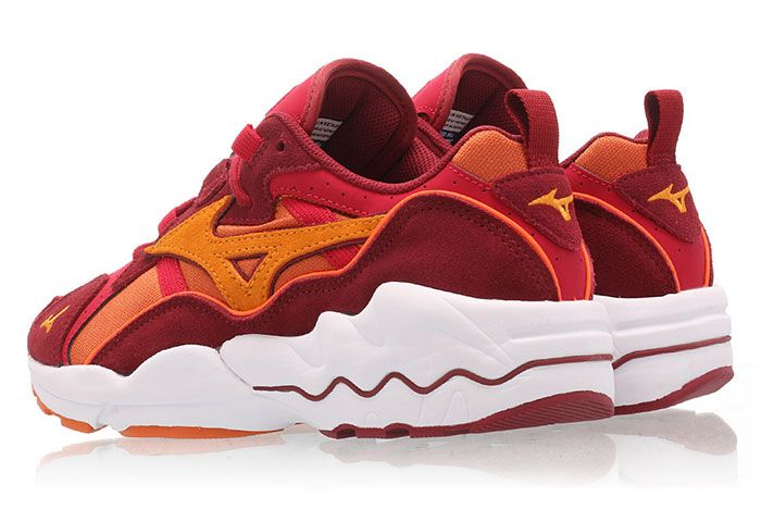 Mizuno Wave Rider 1 Pumpkin Orange Red Rear Angle