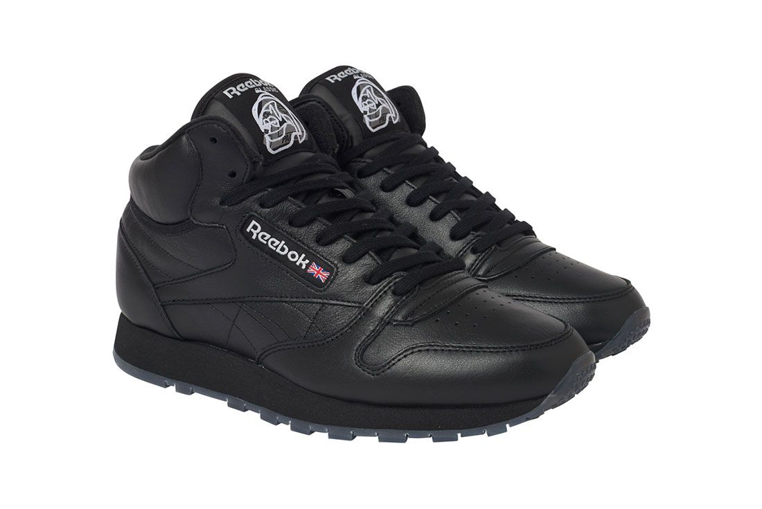 Palace Reebok Workout Mid Black Three Quarter Lateral Side Shot