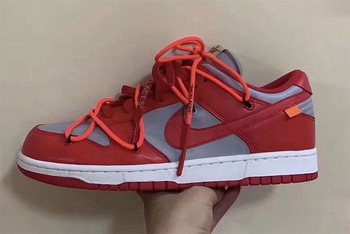 Off White Nike Dunk Low Univeristy Red Wolf Grey Fressh Look