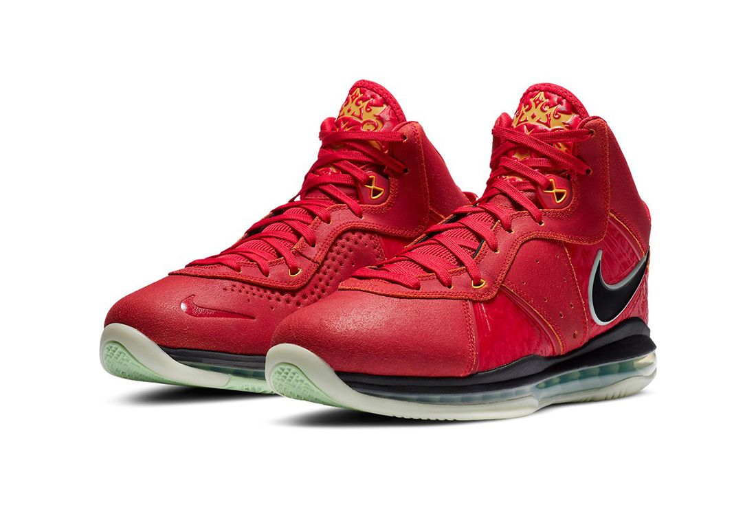 nike lebron 8 gym red on white