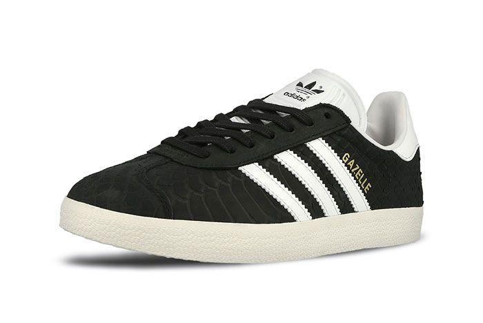 Adidas Gazelle Wmns Core Black Crystal White Chalk White 4