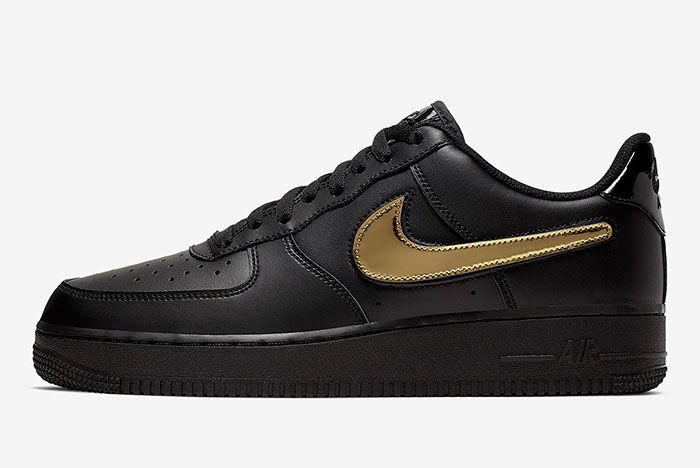 Nike Air Force 1 Blk Gld Ct2252 001 Lateral