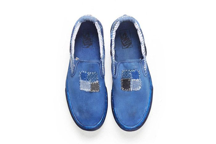 C2 H4 Vans Customised Patched Boro Indigo Slip On 3