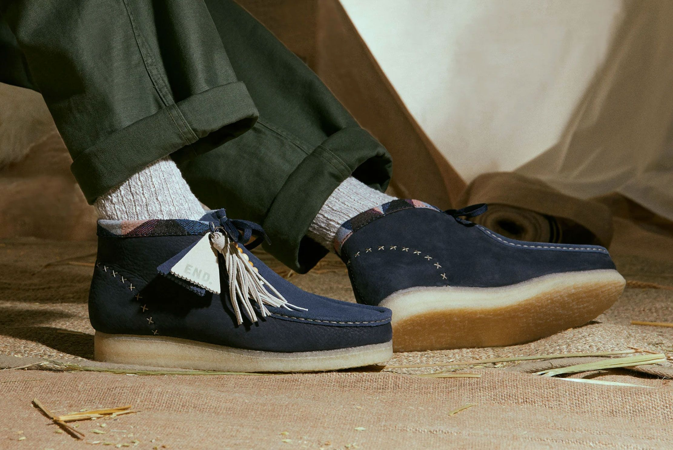 END. x Clarks Wallabee (Navy)