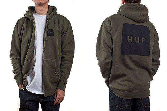 Huf Box Logo Hoodie Olive 1