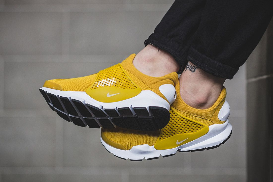 Nike Sock Dart Gold On Foot 2