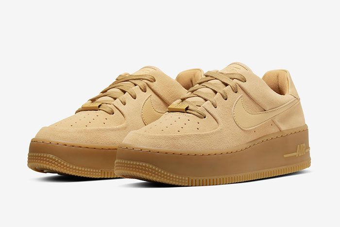 Nike Air Force 1 Sage Club Gold Suede Ct3432 700 Front