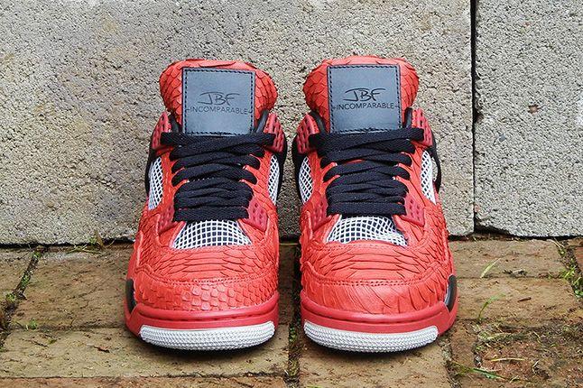 Jbf Customs Jordan Iv Fire Red Python 7 1