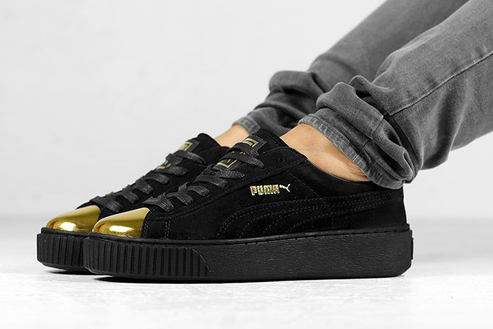 Puma Suede Platform Gold White Black Wmns On Feet 2