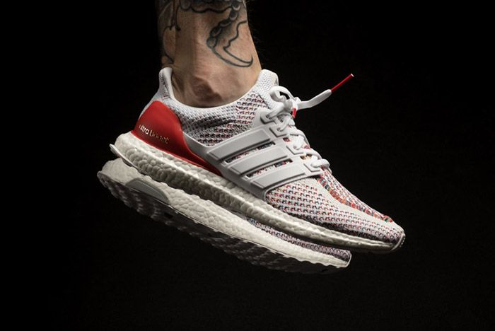 Adidas Ultra Boost White Red Multicolour On Feet 3