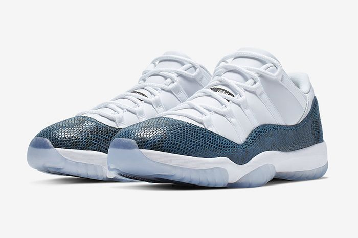 Air Jordan 11 Low Navy Snakeskin Cd6846 102 Release Date Pair