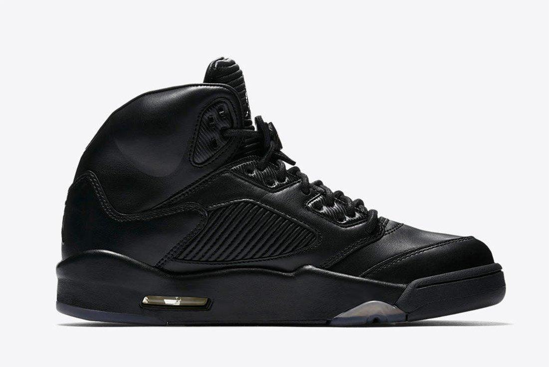 Air Jordan 5 Premium Triple Black Leather 4