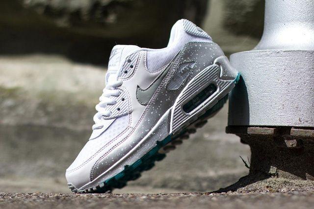 Nike Air Max 90 Speckle White Metallic Silver Turbo Green 1