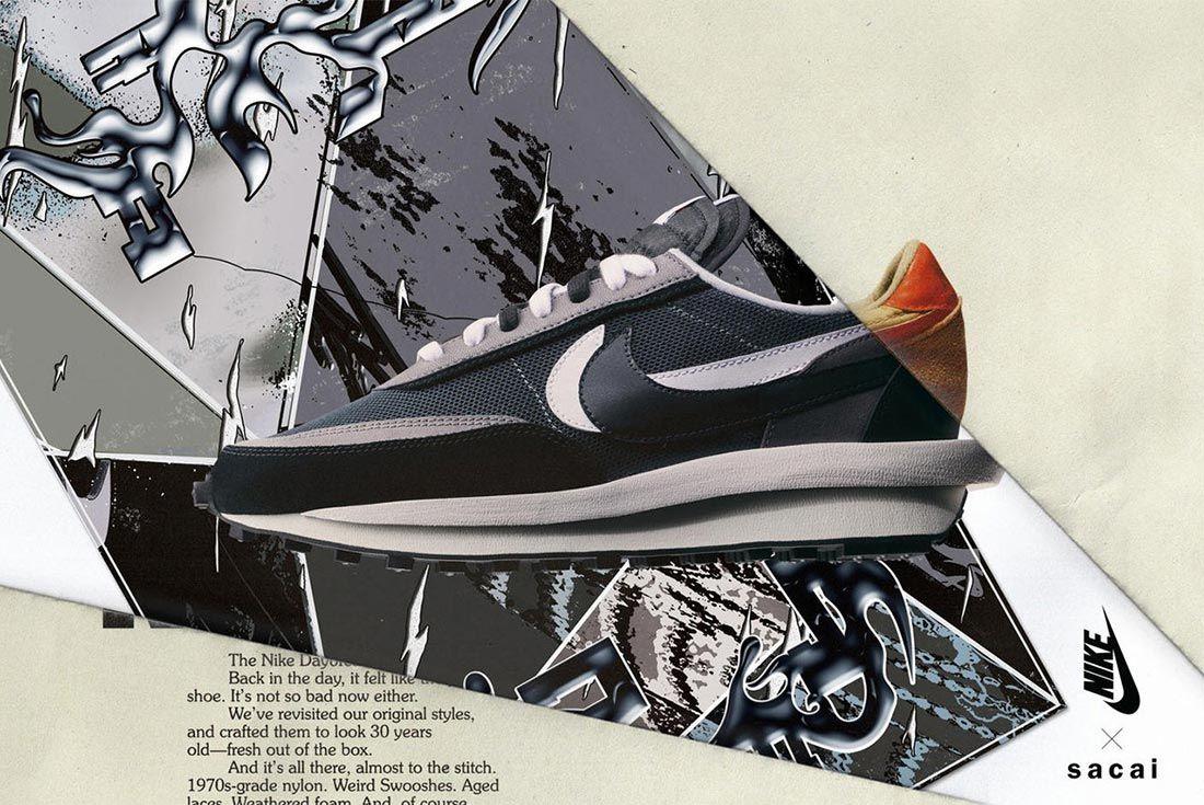 Sacai Nike Ldv Waffle Daybreak Grey White Black Lateral Side Shot