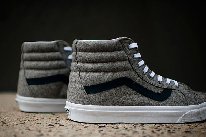 Vans Sk8 High Reissue Varsity Grey Wool Flannel 6