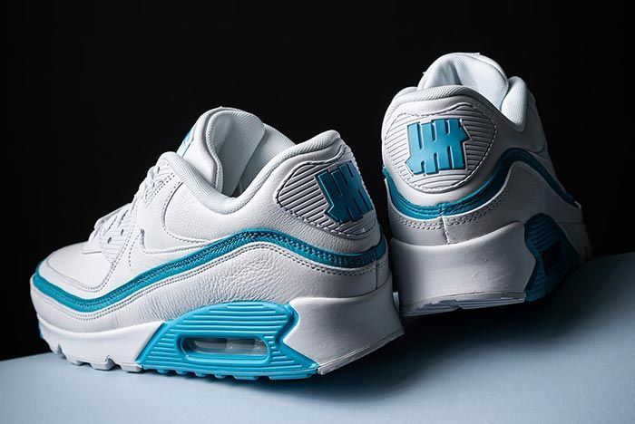 Undefeated Nike Air Max 90 White Blue Heel Shot