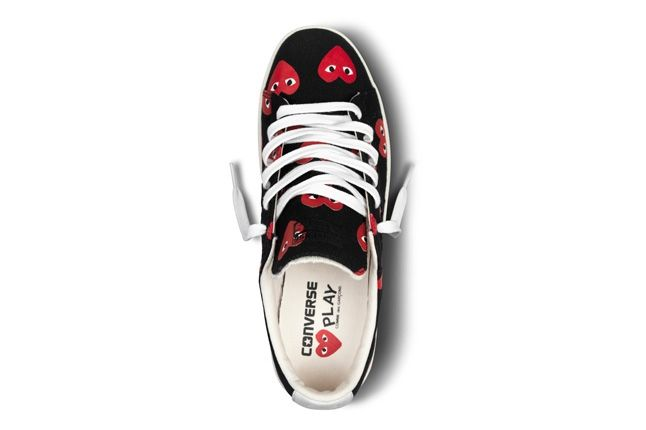 Converse Comme Des Garcons Play Collection Black Red Aerial 1