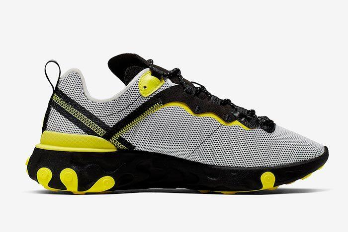 Nike React Element 55 Dynamic Yellow Ck1686 001 Medial Side Shot
