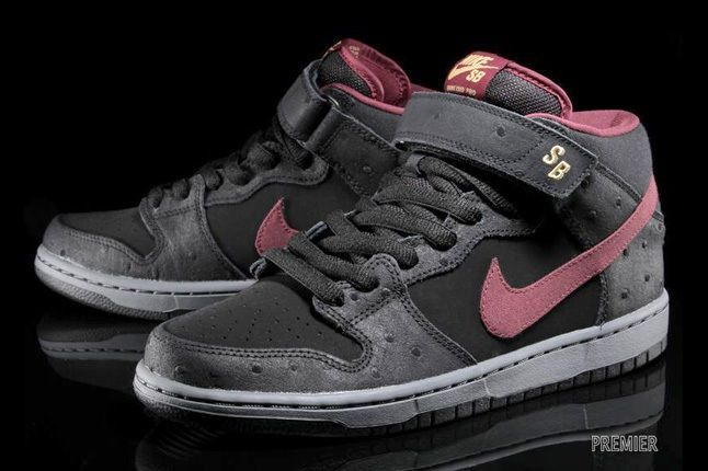Nike Sb Dunk Mid Pro Black Cherrywood Red 6