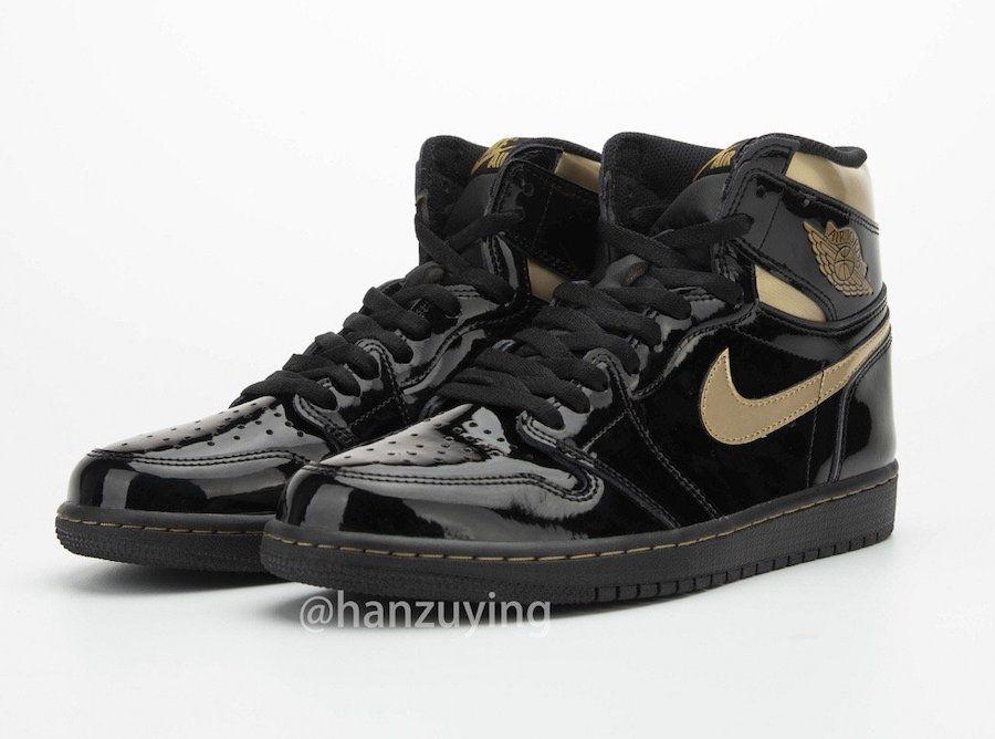 Air-Jordan-1-Black-Metallic-Gold-Patent-Leather-
