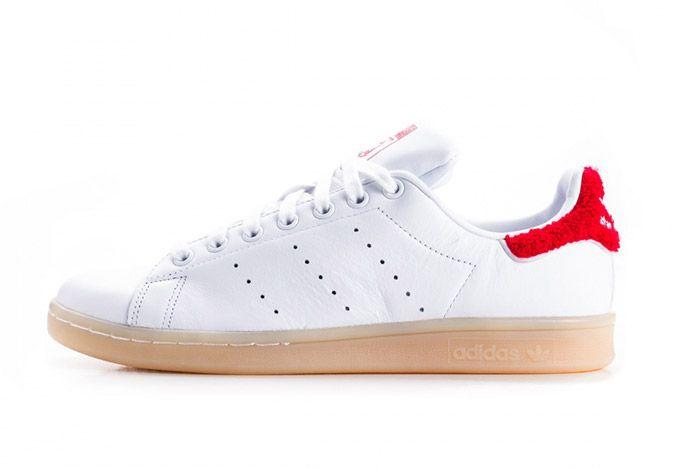 Adidas Stan Smith Fuzzy Heel White Red Womens 4