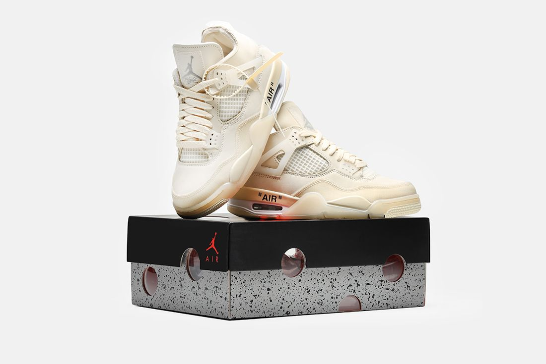 Off White Air Jordan 4 Sail Angled