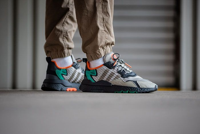 Adidas Nite Jogger Grey Green Ee5569 On Foot Lateral