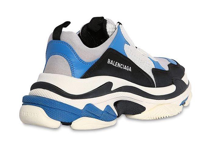 Balenciaga Triple S Blue Heel Shot