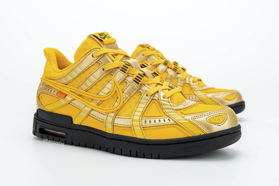off-white nike air rubber dunk university gold toe 2