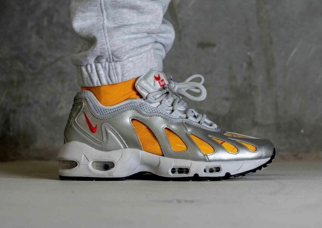 supreme x nike air max 96 silver bullet leaked shots
