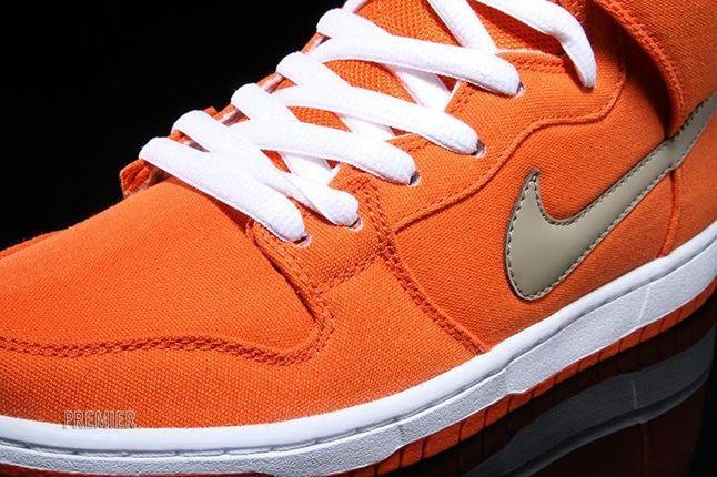Nikesb Dunk High Pro Orange Bamboo Toe Detail 1