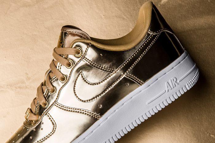 Nike Air Force 1 Liquid Metal Gold Heel