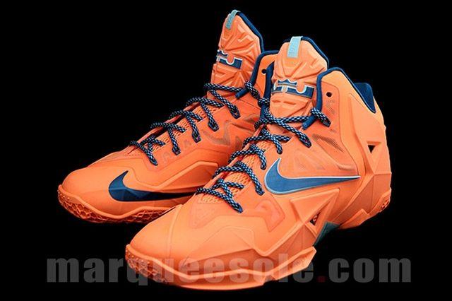 Nike Le Bron 11 Orange Navy Side