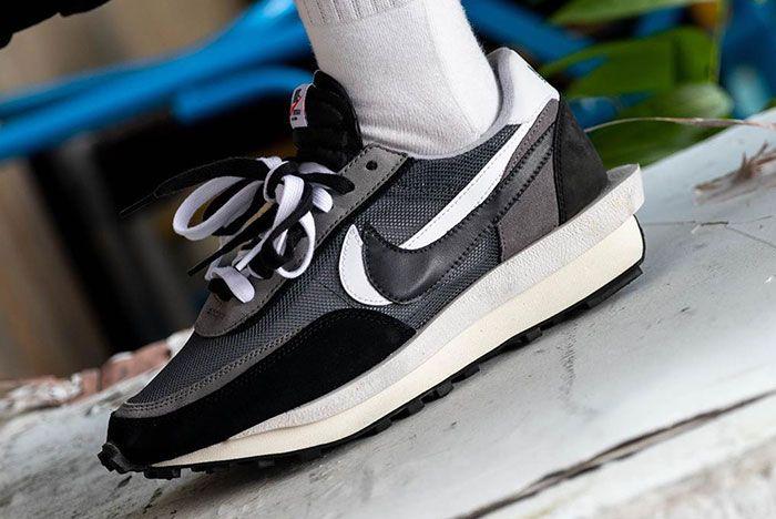 Sacai Nike Ldwaffle Black White Grey On Foot5
