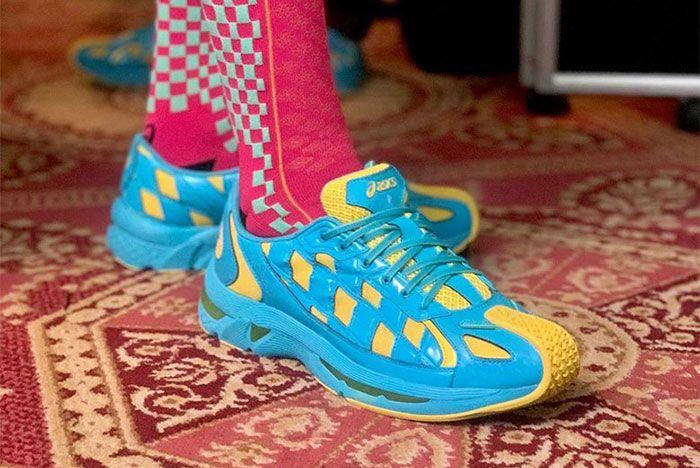 Kiko Kostadinov Asics Ss20 Blue Yellow On Foot Lateral Side Shot