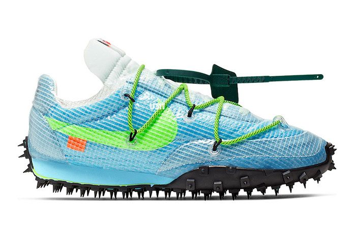 Off White Nike Waffle Racer Vivid Sky Black Electric Green