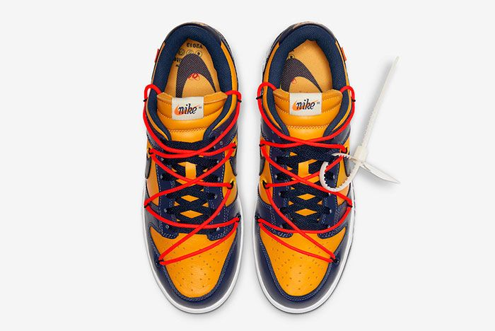 Off White Nike Dunk Low Gold Navy Ct0856 700 Top