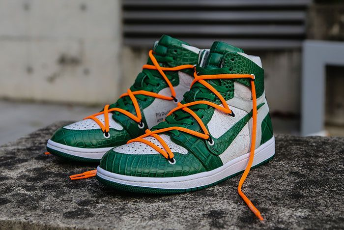 Ceeze Air Jordan 1 Custom Pine Green Off White Hero Shot3
