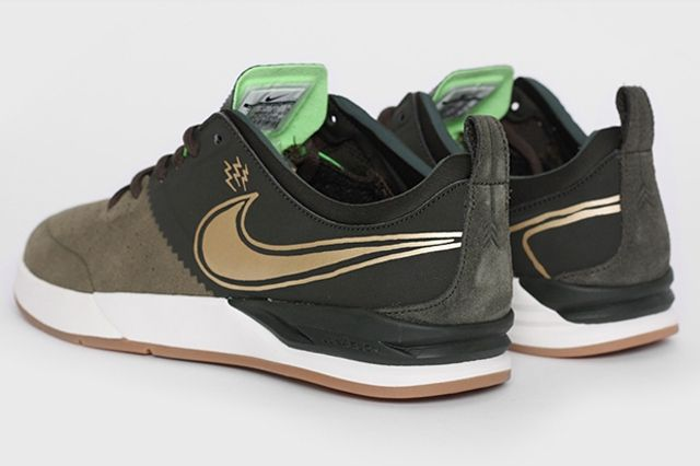 Nike Sb Project Ba Premium Sequoia Metallic Gold Heels