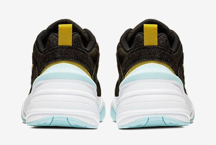 Nike M2K Tekno Denim Green Yellow Heel