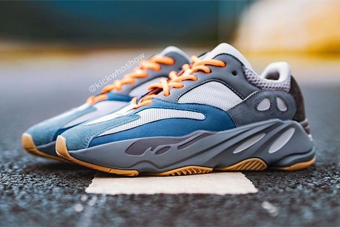 Adidas Yeezy Boost 700 Teal Blue On Foot Left 3