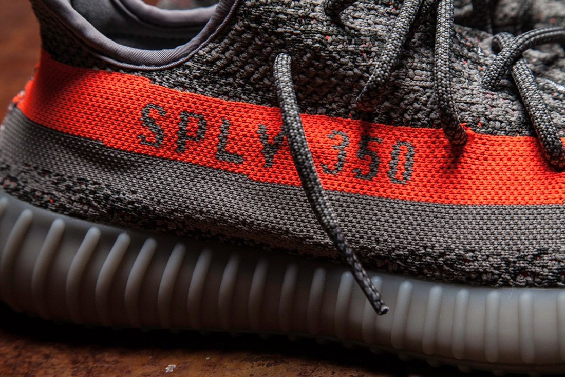 Adidas Yeezy 350 V2 Beluga Grey Orange Close Up 14