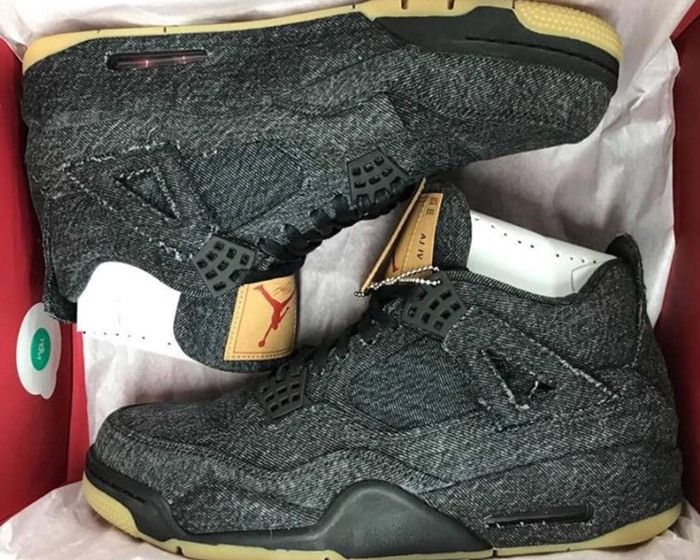Levis X Air Jordan 4 Black Sample 1