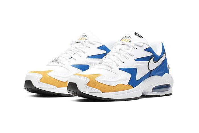 Nike Air Max 2 Light Premium University Gold Game Royal Golden State Warriors Front Angle