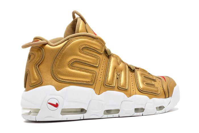 Supreme X Nike Air More Uptempo Metallic Gold7
